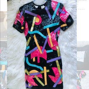 Laurence Kazar Dress Sequin Sz S, Silk Multi-color
